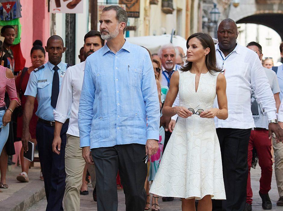 King Felipe and queen Leticia walking on Old Havana streets