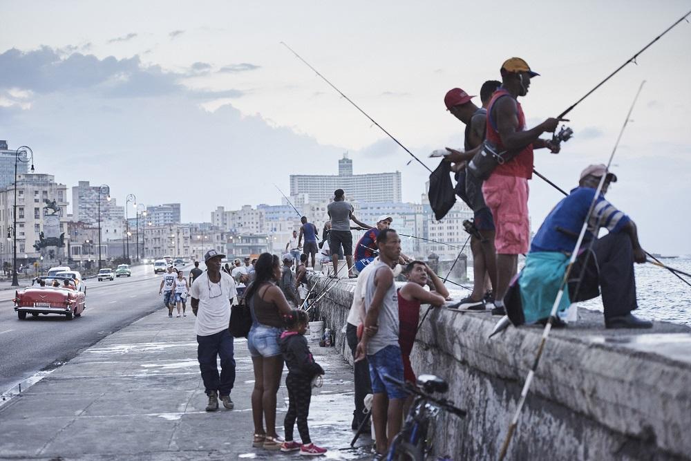 Cubans fishing in Havana's Malecon